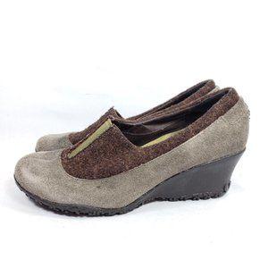 Merrell Tulip Grey Wedge Pump Heels Shoes Women's
